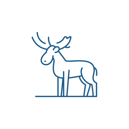 Moose line concept icon. Moose flat  vector website sign, outline symbol, illustration.
