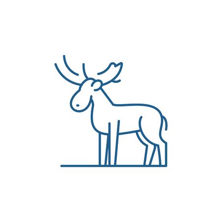 Moose line concept icon. Moose flat  vector website sign, outline symbol, illustration.