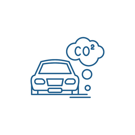 Motor vehicle pollution line concept icon. Motor vehicle pollution flat  vector website sign, outline symbol, illustration.