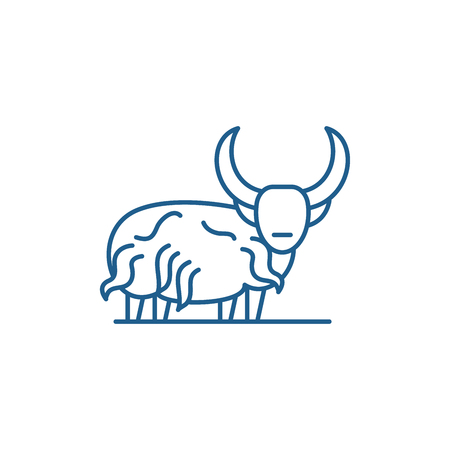 Mountain bull line concept icon. Mountain bull flat  vector website sign, outline symbol, illustration.