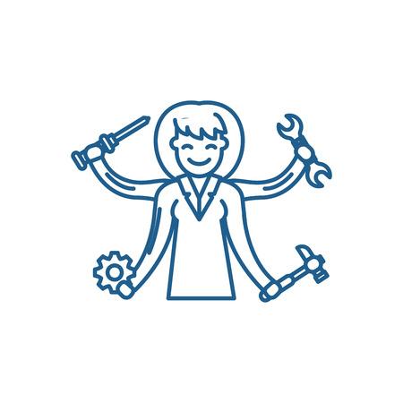 Multitasking line concept icon. Multitasking flat  vector website sign, outline symbol, illustration. Çizim