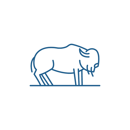 Musk ox line concept icon. Musk ox flat  vector website sign, outline symbol, illustration.