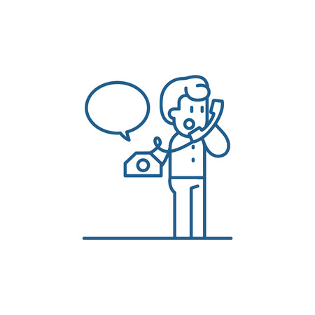 Negotiations on the phone line concept icon. Negotiations on the phone flat  vector website sign, outline symbol, illustration.