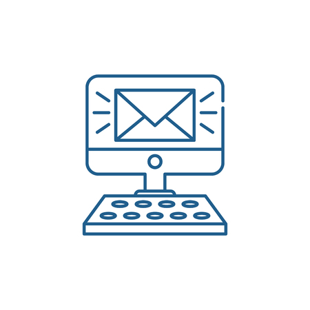 New message line concept icon. New message flat  vector website sign, outline symbol, illustration.
