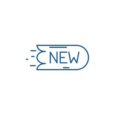 New sticker line concept icon. New sticker flat  vector website sign, outline symbol, illustration. Illustration