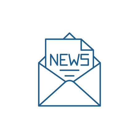 News in an envelope line concept icon. News in an envelope flat  vector website sign, outline symbol, illustration.