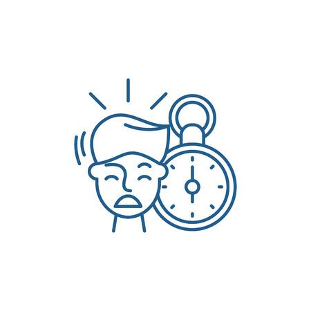 No time line concept icon. No time flat  vector website sign, outline symbol, illustration.