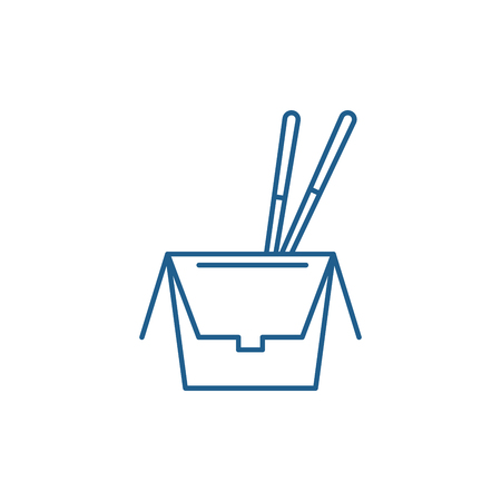 Noodles in a box line concept icon. Noodles in a box flat  vector website sign, outline symbol, illustration.