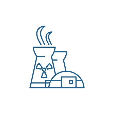 Nuclear power plant line concept icon. Nuclear power plant flat  vector website sign, outline symbol, illustration.