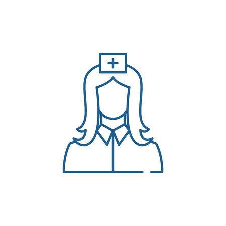 Nurse line concept icon. Nurse flat  vector website sign, outline symbol, illustration. 向量圖像