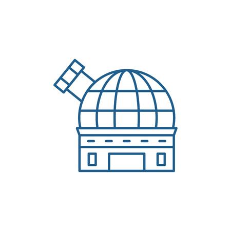 Icono de concepto de línea de observatorio. Observatorio sitio web vector plano signo, símbolo de contorno, Ilustración.