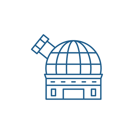 Observatory line concept icon. Observatory flat  vector website sign, outline symbol, illustration. Vettoriali