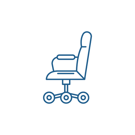 Office chair from the side line concept icon. Office chair from the side flat  vector website sign, outline symbol, illustration. Illustration