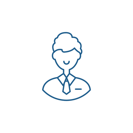 Office employee line concept icon. Office employee flat  vector website sign, outline symbol, illustration.