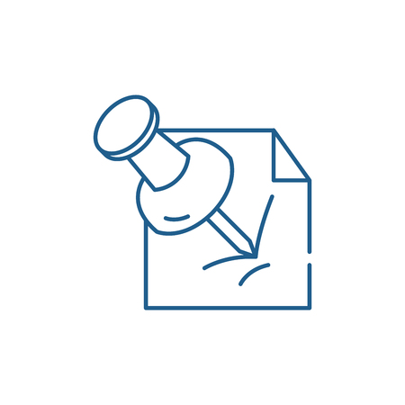 Ikona koncepcja linii pin pakietu Office. Biuro pin płaskie wektor stronie znak, symbol konspektu, ilustracja.