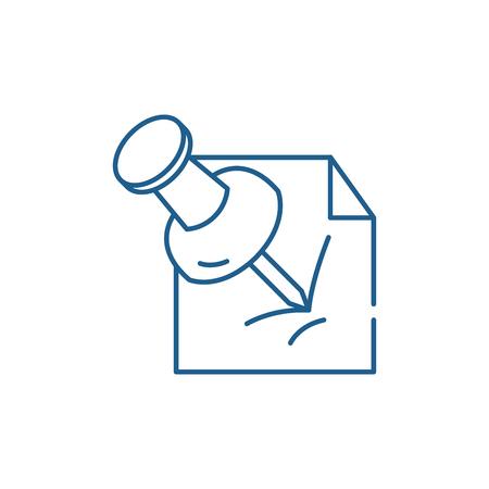 Kantoor pin lijn concept pictogram. Office pin platte vector website teken, overzichtssymbool, afbeelding.