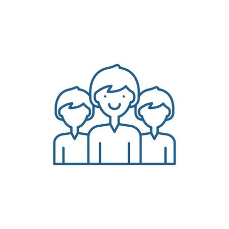 Office staff line concept icon. Office staff flat  vector website sign, outline symbol, illustration.
