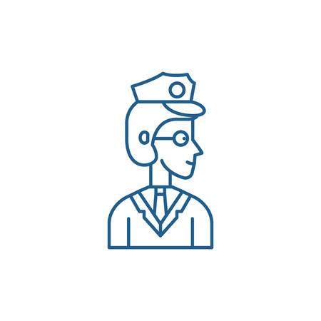 Officer line concept icon. Officer flat  vector website sign, outline symbol, illustration.