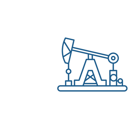 Oil industry line concept icon. Oil industry flat  vector website sign, outline symbol, illustration. Illustration