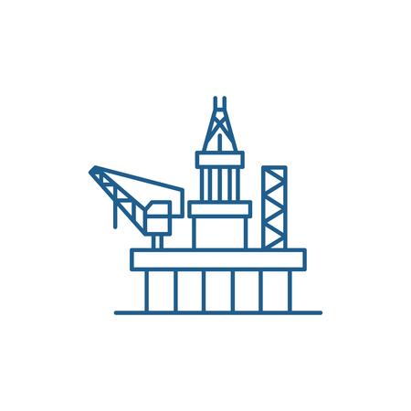 Ikona koncepcja linii platform wiertniczych. Platformy wiertnicze płaskie wektor znak strony internetowej, symbol konspektu, ilustracja.