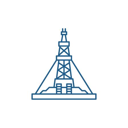 Ikona koncepcja linii produkcyjnej ropy naftowej. Platforma do produkcji ropy naftowej płaski wektor strony internetowej znak, symbol konspektu, ilustracja.