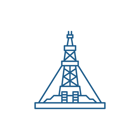 Oil production platform line concept icon. Oil production platform flat vector website sign, outline symbol, illustration.