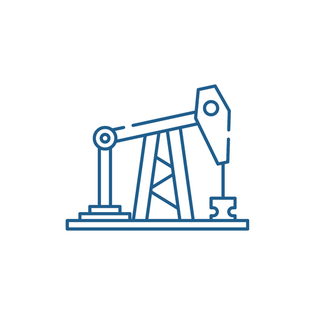 Oil rig line concept icon. Oil rig flat  vector website sign, outline symbol, illustration. 矢量图像