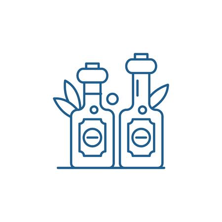 Olive oil line concept icon. Olive oil flat  vector website sign, outline symbol, illustration.