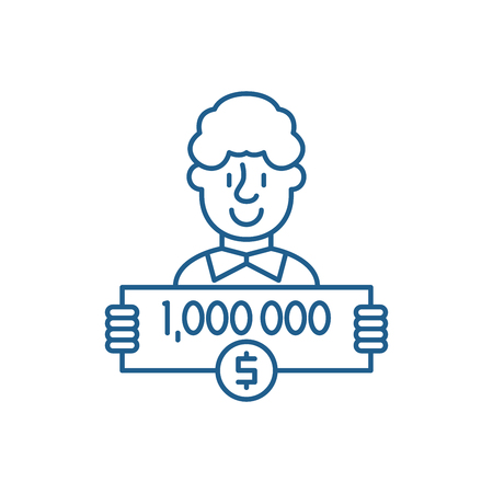 One million dollars line concept icon. One million dollars flat  vector website sign, outline symbol, illustration.