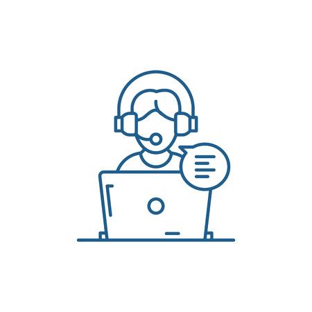 Icône de concept de ligne de conseil en ligne. Conseil en ligne vecteur télévision signe site Web, symbole du contour, illustration.