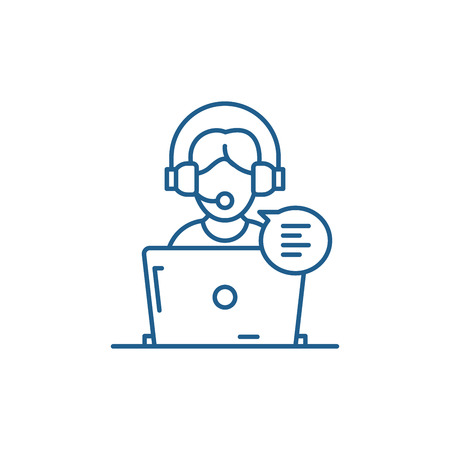 Online counseling line concept icon. Online counseling flat vector website sign, outline symbol, illustration.