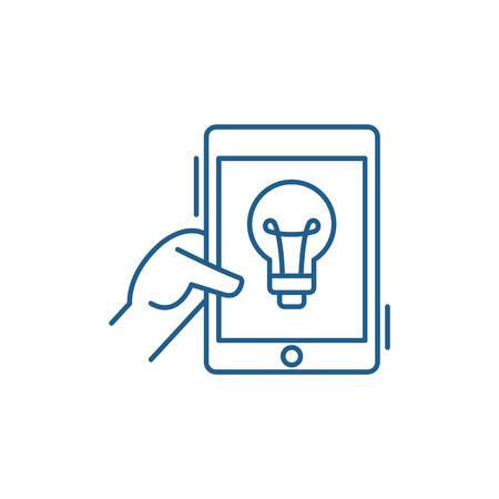 Online idea line concept icon. Online idea flat  vector website sign, outline symbol, illustration. Illustration