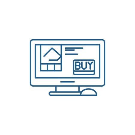 Online retail line concept icon. Online retail flat  vector website sign, outline symbol, illustration.