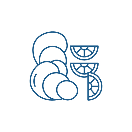 Oysters line concept icon. Oysters flat  vector website sign, outline symbol, illustration.