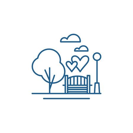 Park line concept icon. Park flat  vector website sign, outline symbol, illustration. Illustration