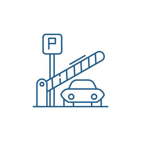 Icône de concept de ligne de stationnement. Parking vecteur télévision signe site Web, symbole du contour, illustration.