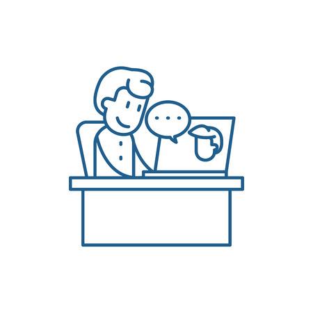 Online meeting line concept icon. Online meeting flat  vector website sign, outline symbol, illustration. Stock Vector - 119911432