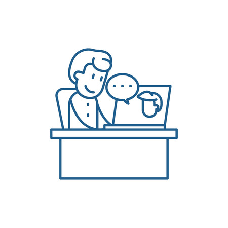 Online meeting line concept icon. Online meeting flat  vector website sign, outline symbol, illustration.