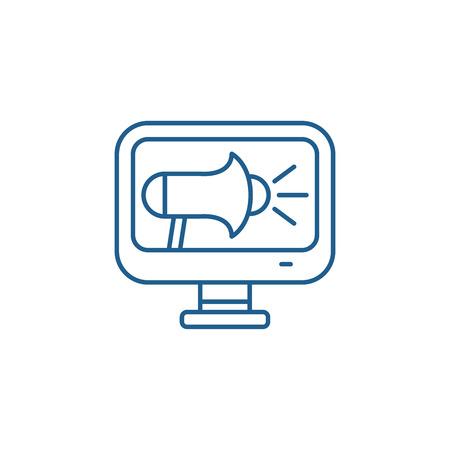 Online pr line concept icon. Online pr flat  vector website sign, outline symbol, illustration.