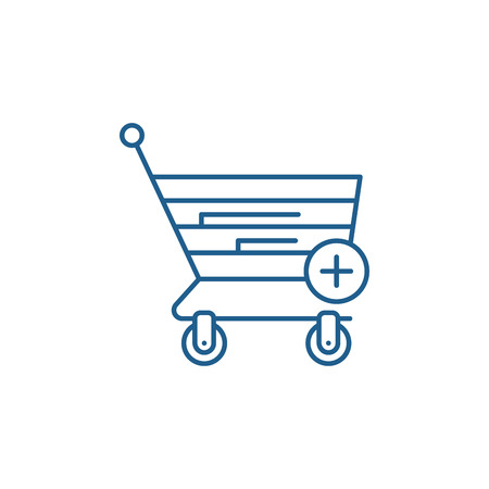 Online shopping line concept icon. Online shopping flat  vector website sign, outline symbol, illustration.