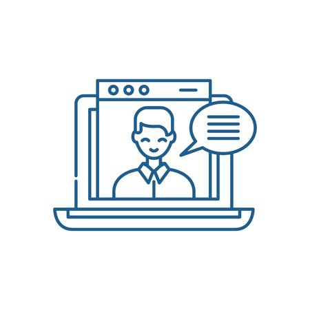 Icône de concept de ligne de cours vidéo en ligne. Cours vidéo en ligne vecteur plat signe de site Web, symbole du contour, illustration.