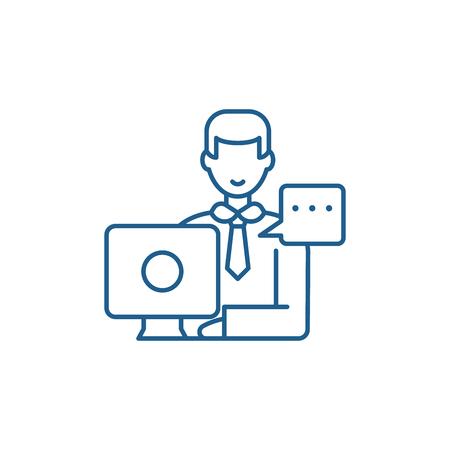 Icône de concept de ligne de réunion opérationnelle. Signe de site Web de vecteur plat de réunion opérationnelle, symbole de contour, illustration.