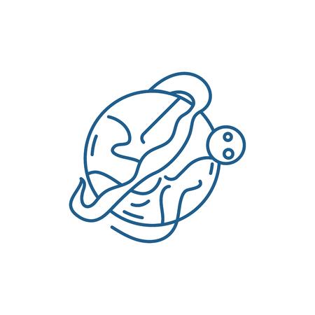 Optimal logistics line concept icon. Optimal logistics flat  vector website sign, outline symbol, illustration.