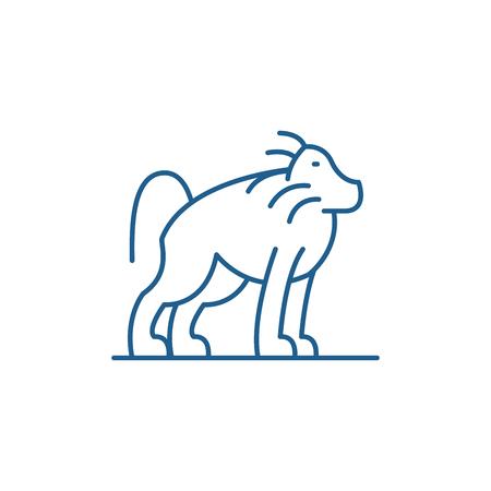 Orangutan line concept icon. Orangutan flat  vector website sign, outline symbol, illustration. Stock Vector - 119911461