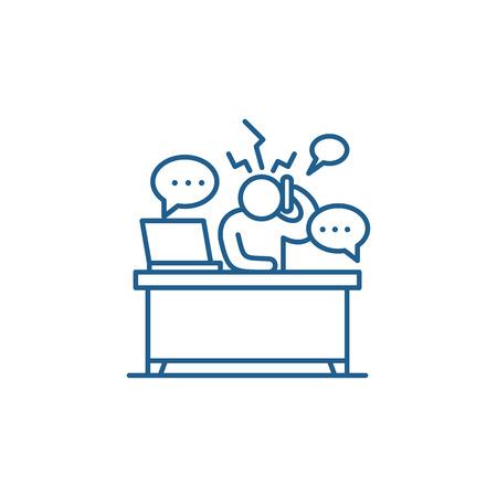 Overwork at work line concept icon. Overwork at work flat  vector website sign, outline symbol, illustration. Illustration