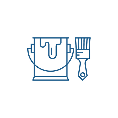 Paint and brush line concept icon. Paint and brush flat  vector website sign, outline symbol, illustration.