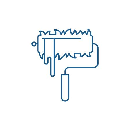Paint roller line concept icon. Paint roller flat  vector website sign, outline symbol, illustration.