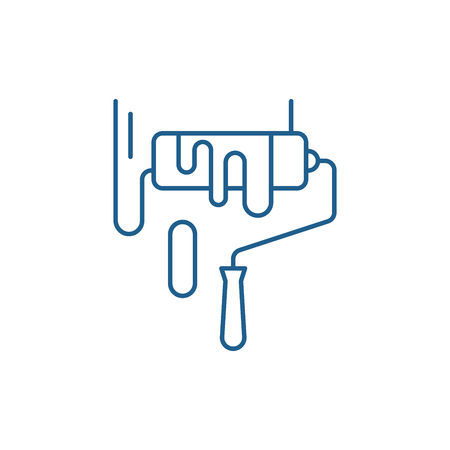 Painting works line concept icon. Painting works flat  vector website sign, outline symbol, illustration. Illusztráció