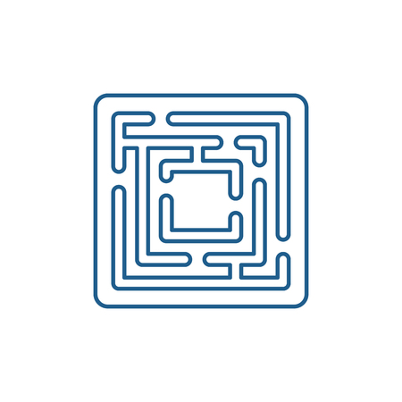 Path in the maze line concept icon. Path in the maze flat  vector website sign, outline symbol, illustration.