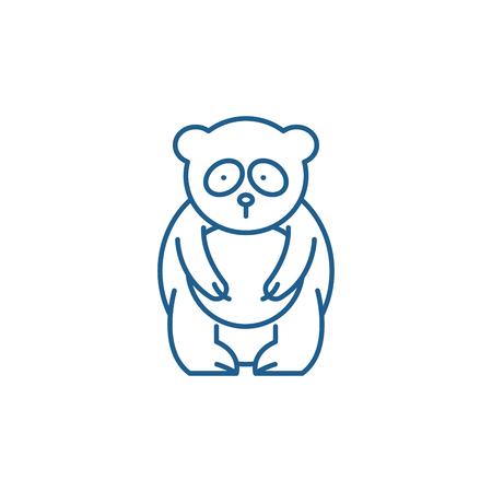 Panda bear line concept icon. Panda bear flat  vector website sign, outline symbol, illustration.